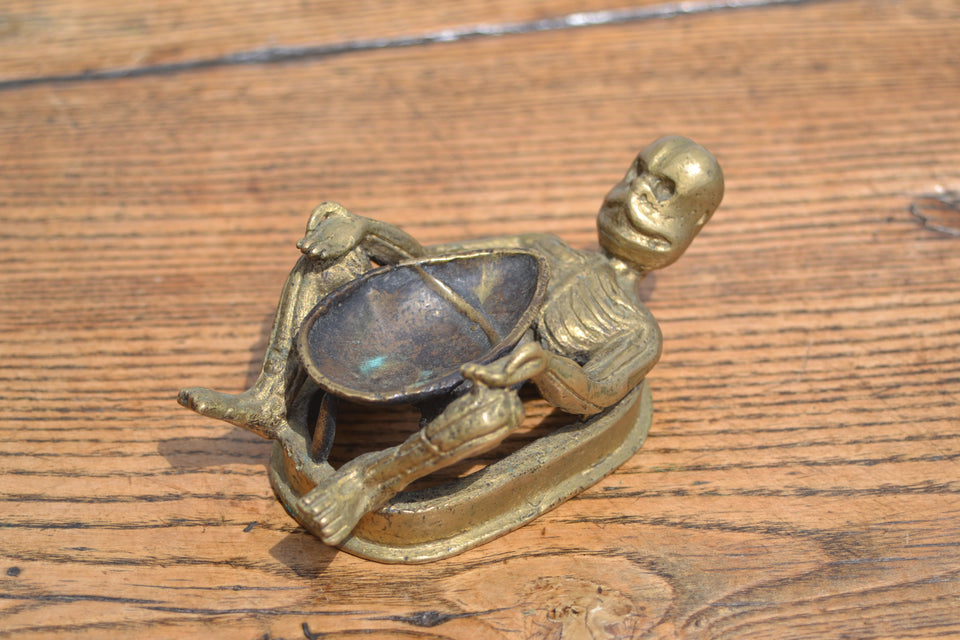 A Tibetan Buddhistic Skeleton Diya (Oil burner)