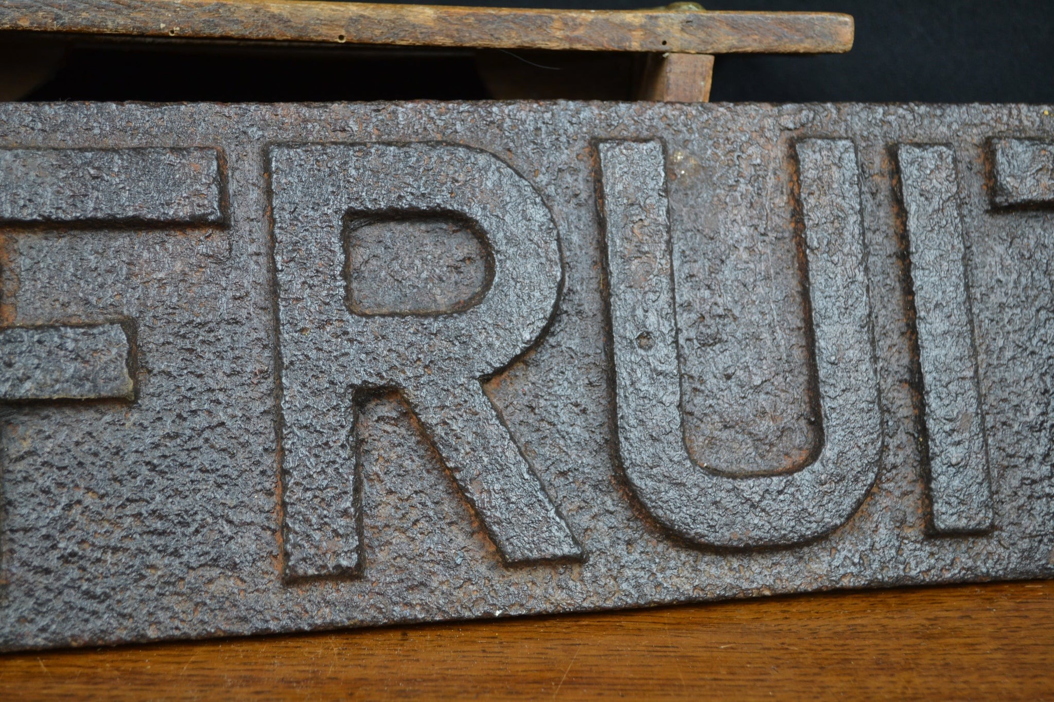 SOLD - Cast Iron Victorian 'Fruit' Wagon plate