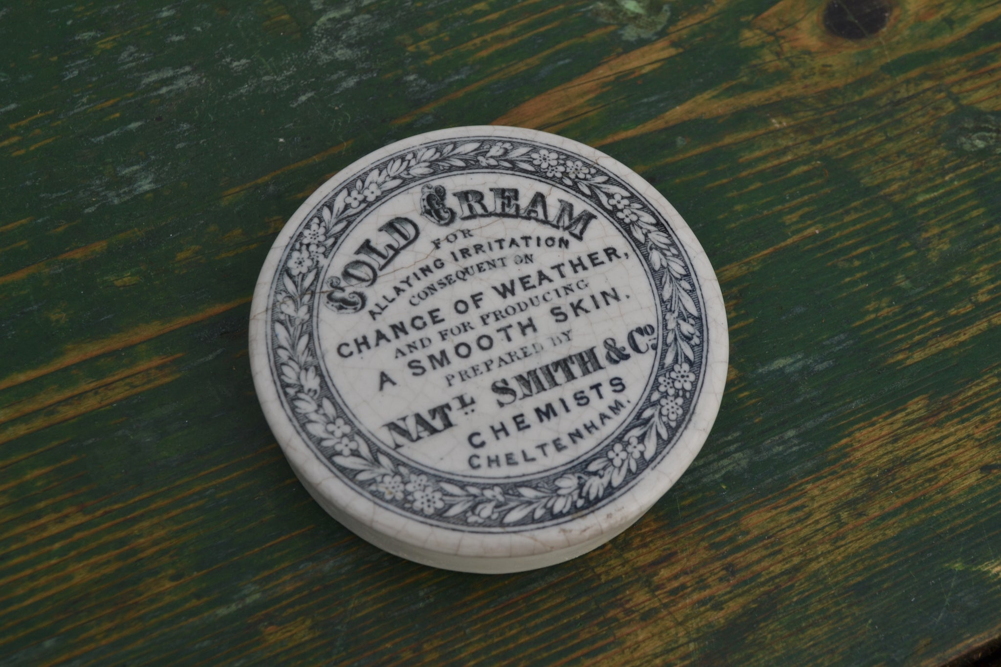 'Change of weather' Cold Cream pot lid - Cheltenham