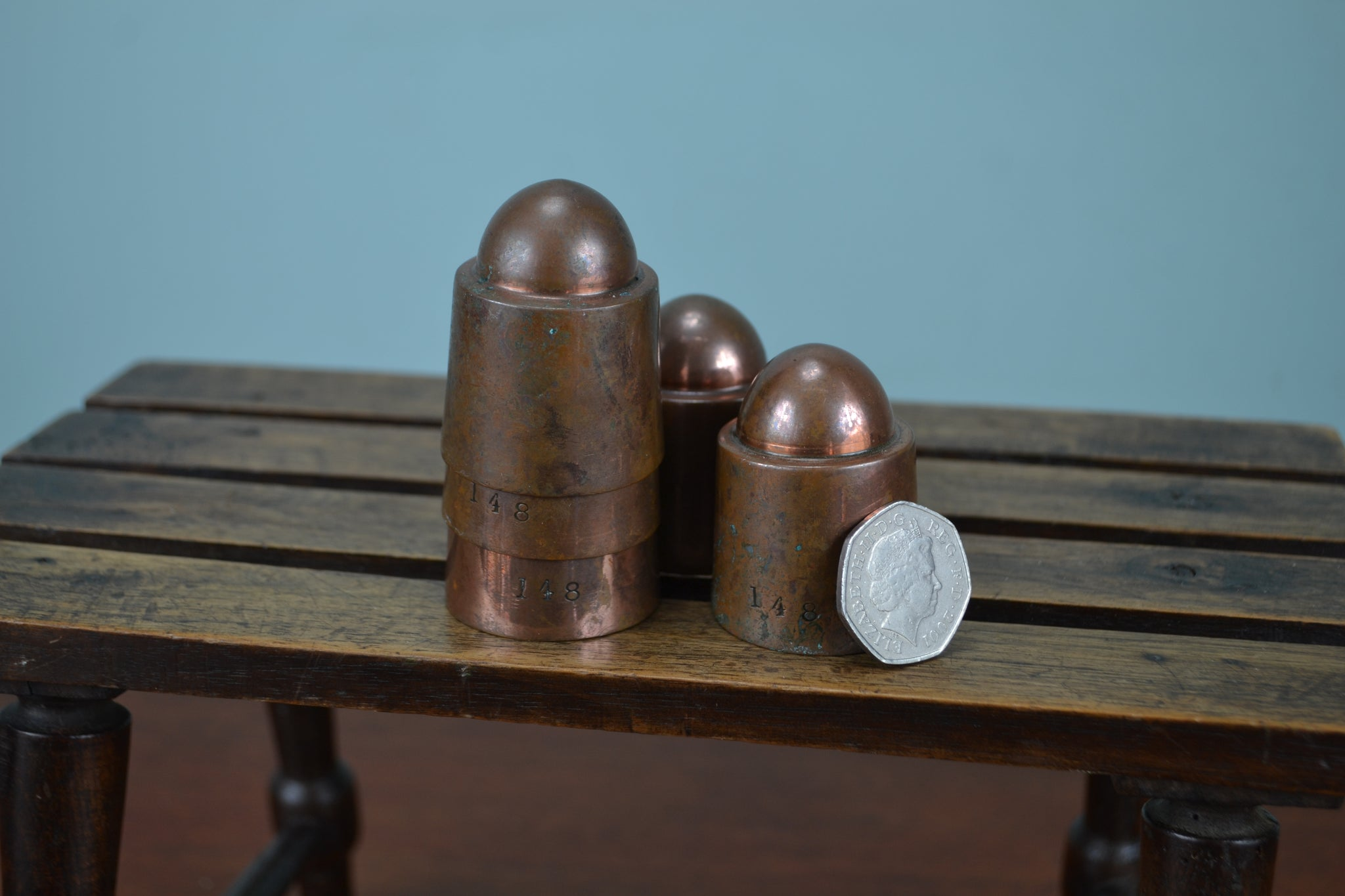 5 Victorian copper chocolatier moulds