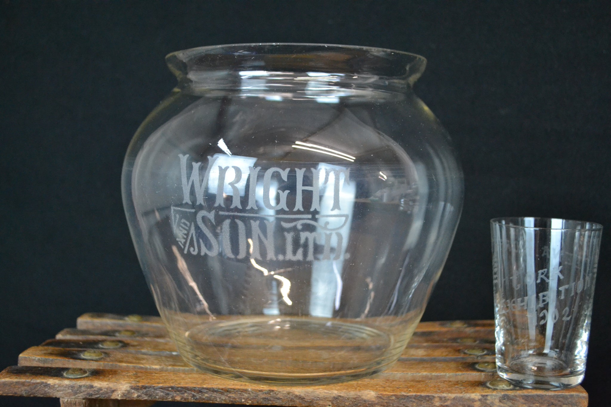 Edwardian Wright and Son Ltd. counter top biscuit jar
