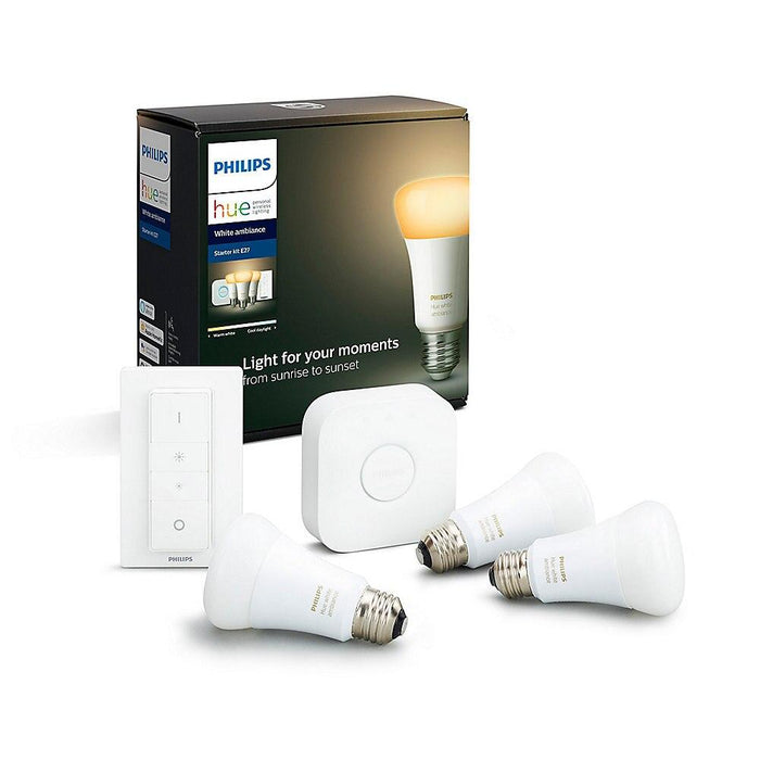 Philips Hue White Ambiance Starter-Set + Dimmschalter (3x E27, 8.5 W, Bluetooth) - Glühbirnen - digitrends.ch
