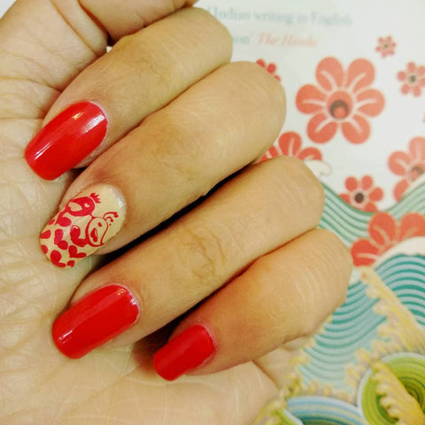 7 Creative Red Nail Art Designs That You Should Try - love theme nail art, red valentines day nail art, stamping red nail art