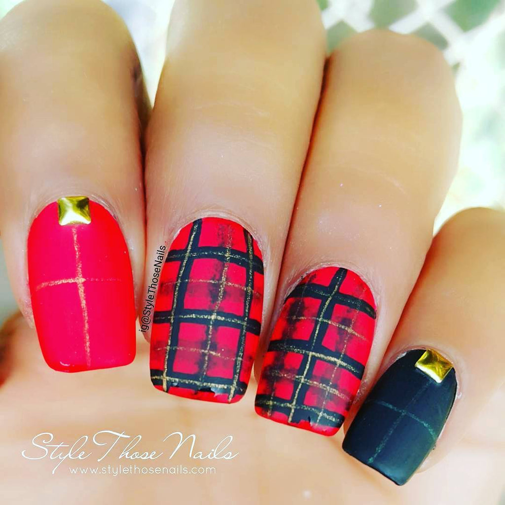 7 Creative Red Nail Art Designs That You Should Try - red plaids nail art design