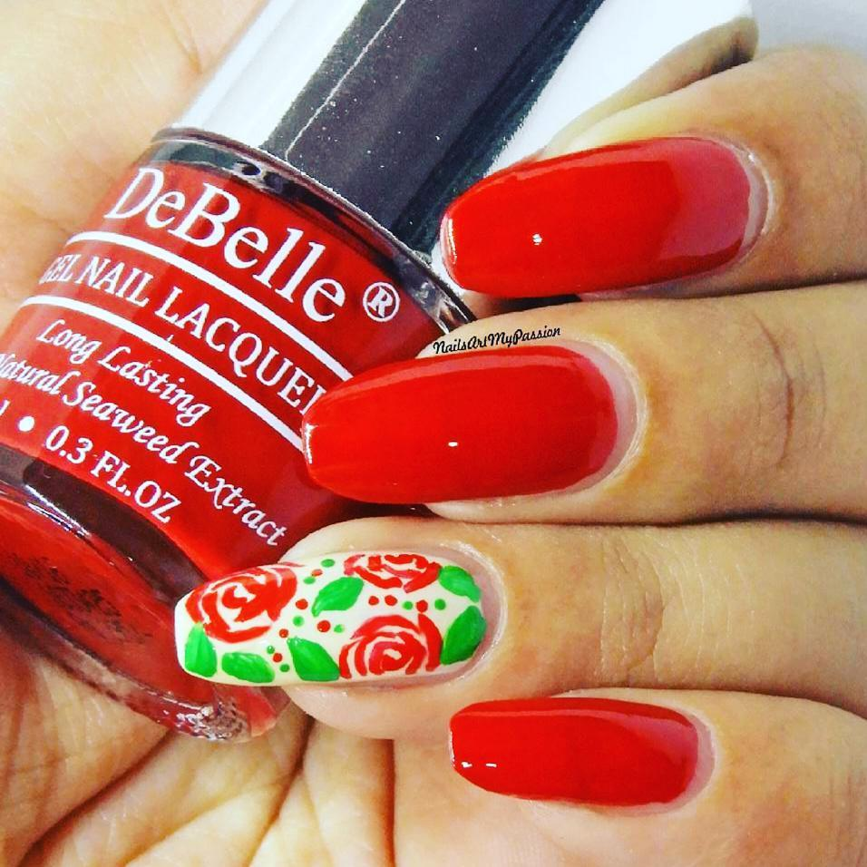 7 Creative Red Nail Art Designs That You Should Try - red roses nail art design freehand