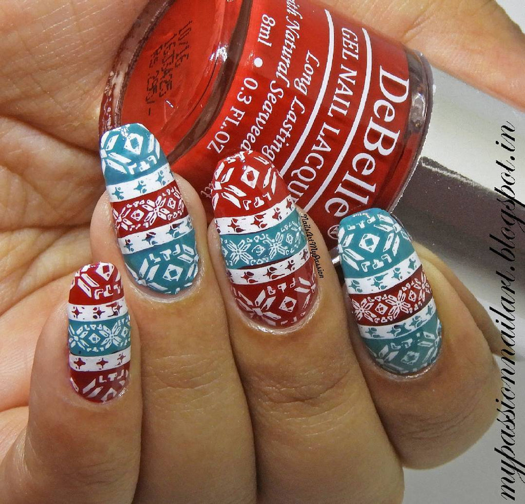 7 Creative Red Nail Art Designs That You Should Try - sweater nail art design, red sweater nail art design.JPg