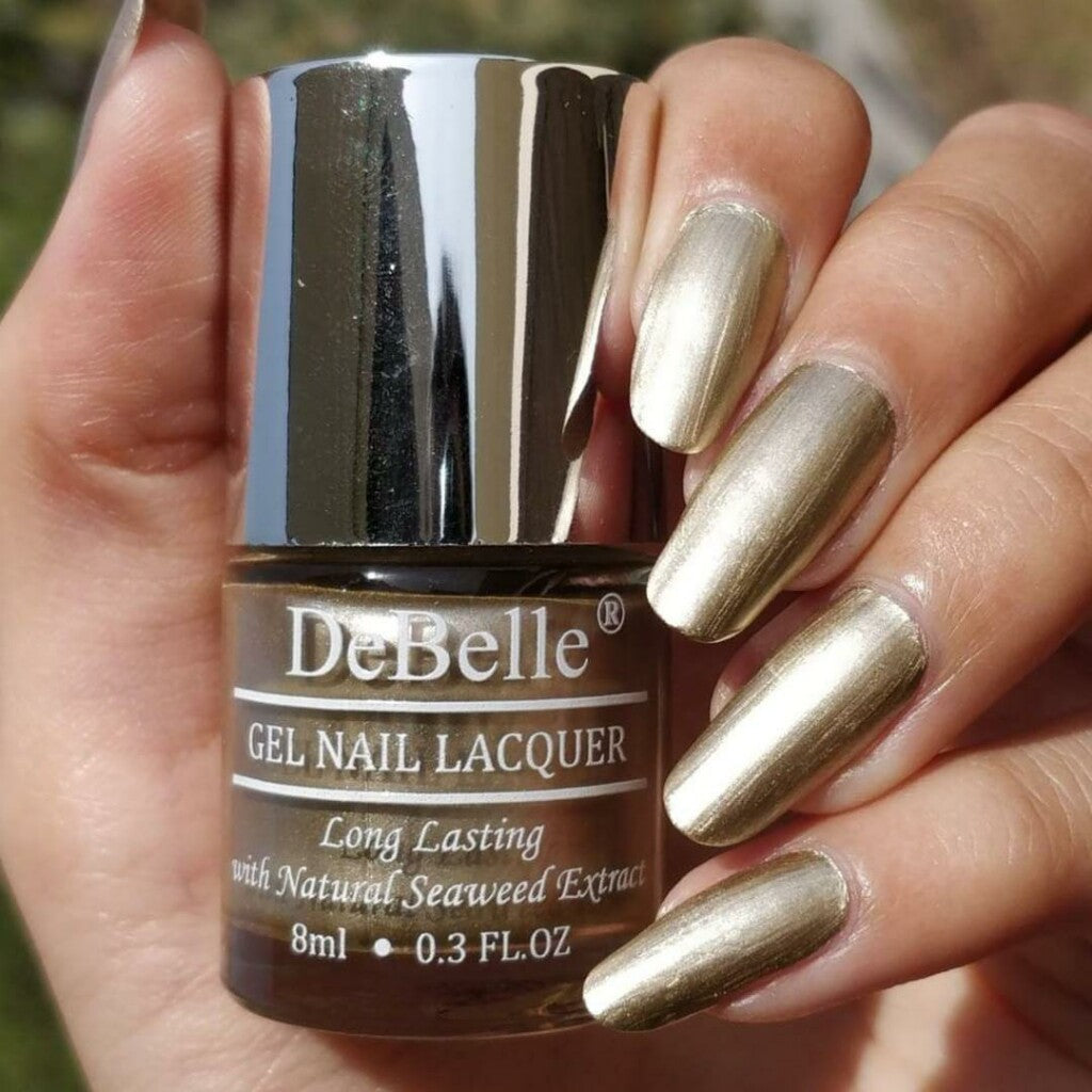 DeBelle Chrome Gel Nail Lacquer Chrome Gold - Bright Gold Metallic Chrome Shade