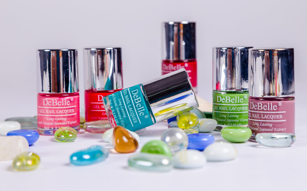 DeBelle Gel nail lacquer is gel nail polish with natural seaweed extract. DeBelle nail polish helps to promote nail growth and are available in trendy colours.