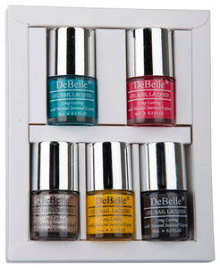 DeBelle Nail Lacquer set Macaroon Squad gift pack of 5 Royale Cocktail, Fuschia Rose, Sparkling Dust, caramelo Yellow, Copper Glaze