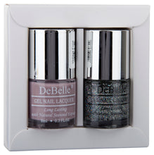 Load image into Gallery viewer, DeBelle Nail Lacquer set Fleur De Pearl gift pack of 2 Vintage Frost , Shimmer Top Coat