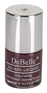 8 ml bottle of Burgundy nail polish by DeBelle