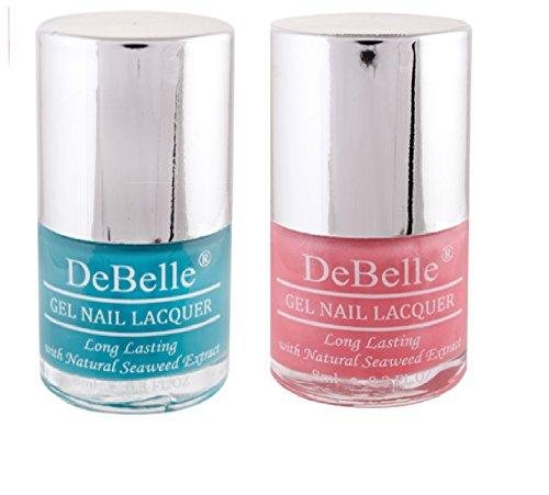 DeBelle Women's Nail Polish Combo Kit (Turquoise Blue & Pink)- Set of 2