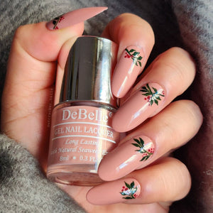 Dusty pink nail polish shade india - leaves nail art inspiration