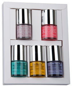DeBelle Nail Lacquer set Macaroon Squad gift pack of 5 Vintage Frost, Bebe Kiss , Tahiti Teal , Caramelo Yellow , Blueberry Bliss