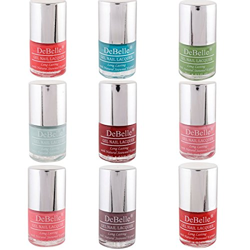DeBelle Nail Polish combo Kit (Pack of 9) (Red, Turquoise blue, Maroon, Mint blue, Pink, Mauve, Baby pink, Coral orange, Pastel Green)