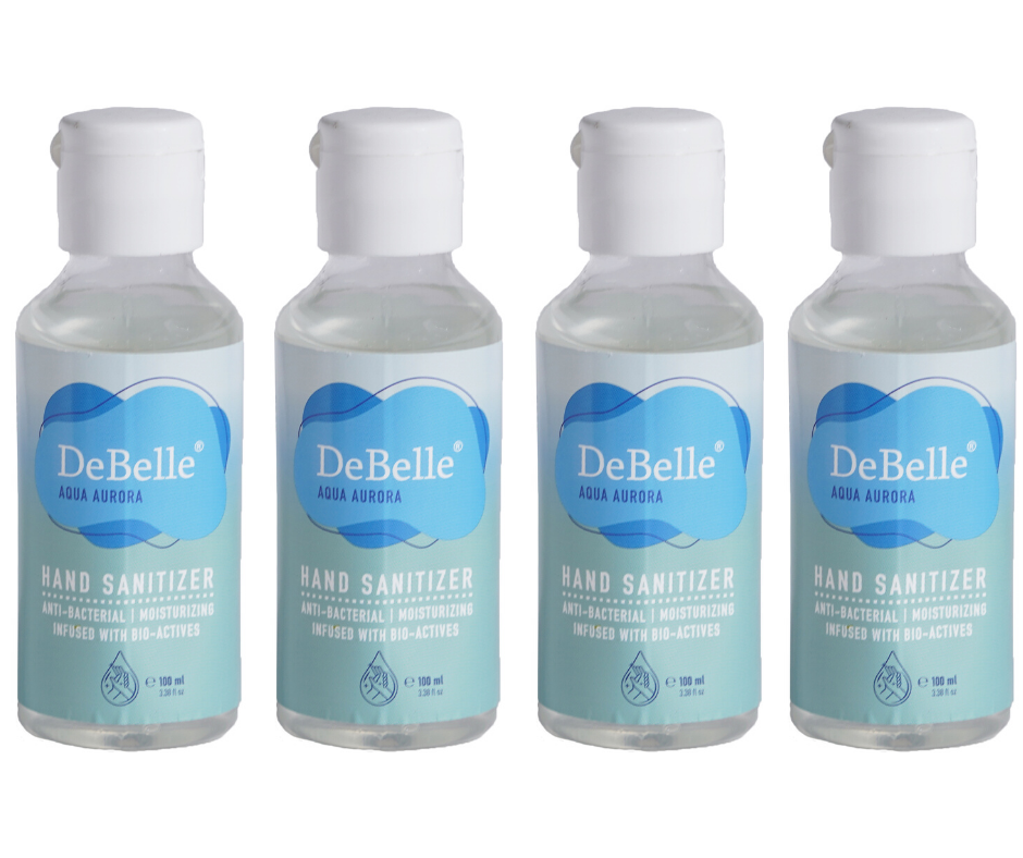 DeBelle Hand Sanitizer combo pack of 4  - Aqua Aurora (100 ml each)