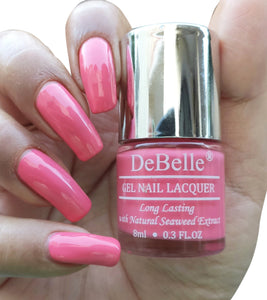 DeBelle Gel Nail Lacquers Combo of 5 Natural Blush , La Azure, Bebe Kiss, Almond Blush and Tangerine Sheen - 8 ml each