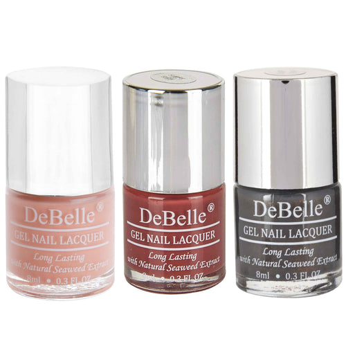 DeBelle Gel Nail Lacquers Combo of 3 Choco Latte, Scarlet Ruby and Copper Glaze - 8 ml each
