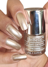 Load image into Gallery viewer, DeBelle metallic beige nail swatch