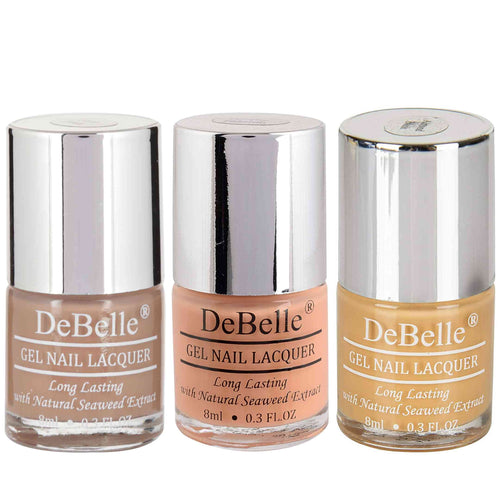 DeBelle Gel Nail Lacquers Combo of 3 Coco Bean, Peachy Passion and Almond Blush - 8 ml each