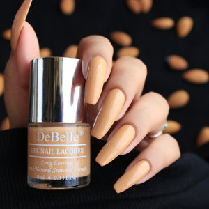 DeBelle Gel Nail Lacquer Almond Blush - (Pastel Orange Brown Nail Polish), 8ml