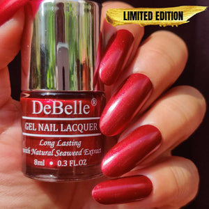 DeBelle Gel Nail Lacquer Antares - deep maroon shimmer nail polish for women online