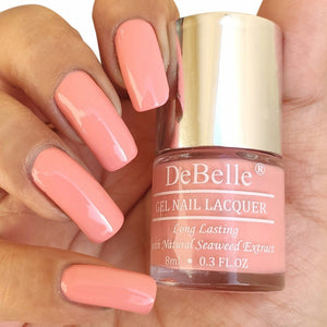 DeBelle Gel Nail Lacquer Apricot Dew - Pastel Pink nail polish shade in india online