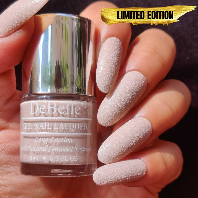 DeBelle Gel Nail Lacquer Aries - Galaxie Collection light dusty pink nail polish shade for women with glitter finish