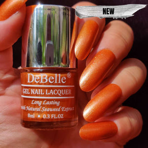 DeBelle Gel Nail Lacquer Aurora - Galaxie Collection copper shimmer nail polish shade india