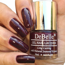 Load image into Gallery viewer, DeBelle Gel Nail Lacquer Glamorous Garnet - Deep Maroon nail polish in India