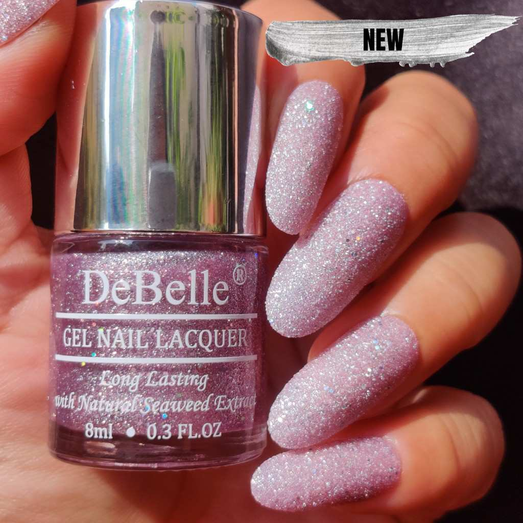 DeBelle Gel Nail Lacquer Ophelia - Galaxie Collection lavender glitter nail polish shade