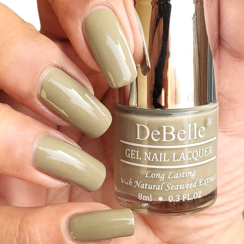 DeBelle Gel Nail Lacquer Pastel Olive Jade - best Olive Green Nail Polish Shade India for women