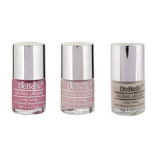 Load image into Gallery viewer, DeBelle Gel Nail Lacquers Mademoiselle Collection Combo Set of 3 Light Magenta, Pastel Purple and Nude - 8ml each