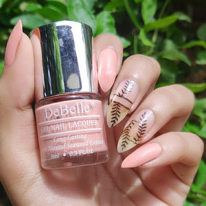 DeBelle gel nail lacquer choco latte nail art - light nude nail art design with accent nail