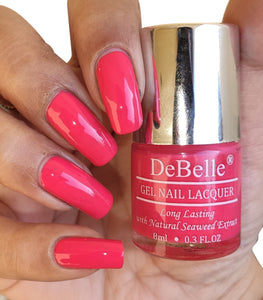 DeBelle bright pink  nail polish swatch