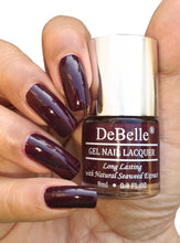 Load image into Gallery viewer, DeBelle Gel Nail Lacquer Combo Set of 6 Copper Glaze, Shimmer top coat, Glamorous Garnet, Laura Aura, Fuschia Rose, Coco Bean - 8ml each