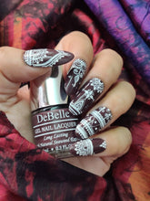 Load image into Gallery viewer, deep burgundy nailart design - white henna nail art design inspiration