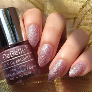 DeBelle Gel Nail Lacquer Ophelia - (Lavender with Holo Glitter ; Sugar Finish) Galaxie Collection