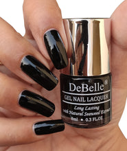 Load image into Gallery viewer, DeBelle Jet Black Nail Polish Swatch