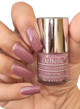 Load image into Gallery viewer, DeBelle Mauve Nail Polish Swatch