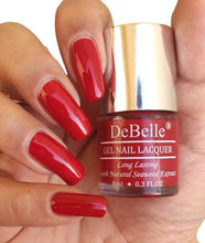 Load image into Gallery viewer, DeBelle dark red nail polish swatch