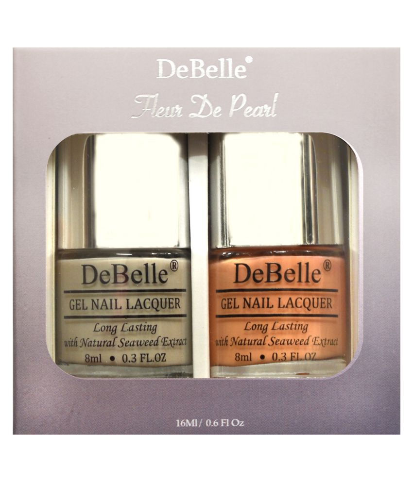 DeBelle Nail Lacquer set Fleur De Pearl gift pack of 2 Natural Blush & Peachy Passion - 8ml