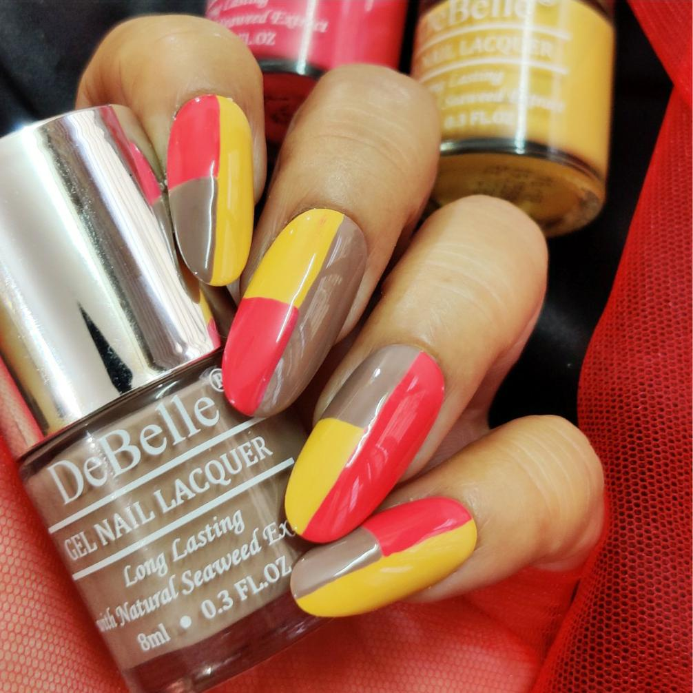 DeBelle Gel Nail Lacquers Combo of 3 Fuschia Rose , Coco Bean and Yellow Topaz - 8 ml each