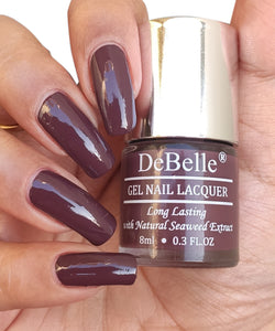 DeBelle deep burgundy nail swatch