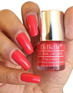 DeBelle orange red nail swatch
