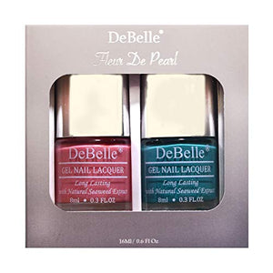 DeBelle Gel Nail Lacquer set Fleur De Pearl gift pack of  Royale Cocktail & Miss Bliss - 8ml each