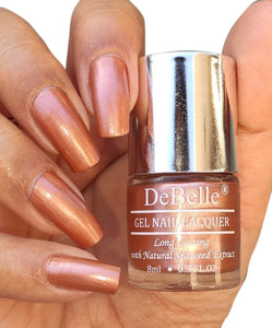 DeBelle metallic rose gold nail swatch