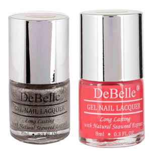 DeBelle Gel Nail Lacquers Combo Sparkling Dust & Fuschia Rose