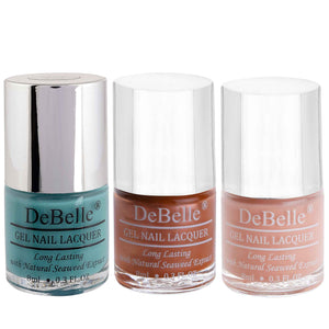 DeBelle Gel Nail Lacquers Combo of 3 Tahiti Teal , Roseate Gold and Choco latte - 8 ml each