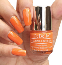Load image into Gallery viewer, DeBelle carrot orange nail polish shade swatch